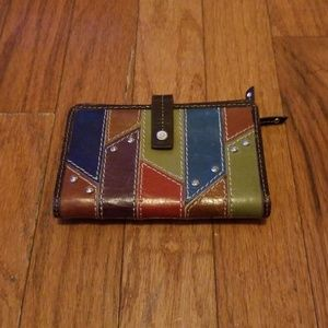 FOSSIL Multicolor Leather Wallet Rare Nice LOOK!
